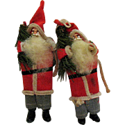 Two Older Santa Christmas tree Ornaments Plastic heads and Boots 1950s Good Condition