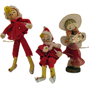 Three Vintage Hand Made Christmas tree Ornaments Japan 1950s Good Condition