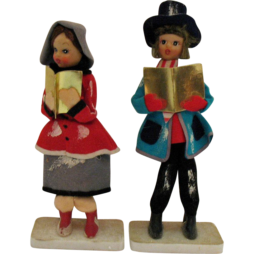 Two Vintage Free Standing Christmas Display Carolers 1950s Good Condition