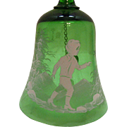 Vintage Mary Gregory Green Glass Bell Bohemian Czechoslovakia Young Boy Motif Very Good Condition