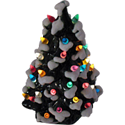 Vintage Ceramic Christmas tree with Faux Plastic Lights & Angelic Figurines Very Good Condition