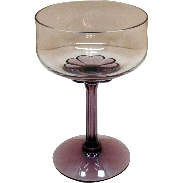 Vintage (13) Fostoria Champagne/Tall Sherbet Amethyst Base & Stem Corsage Plum Pattern 1970s Very Good Condition