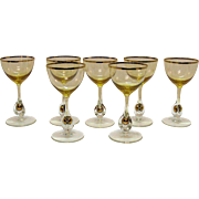 Vintage Set of 7 Atlas Liquor Cocktail Glasses Golden Ball in Stem Pattern Topaz/Yellow Bowl Czechoslovakia 1957 Very Good Condition