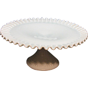 Vintage Fenton Hobnail Milk Glass Pedestal Cake Plate Very Good Condition