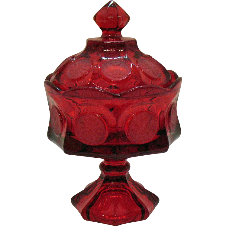 Vintage Ruby Red Fostoria Coin Glass Wedding Bowl with Lid 1969-81 Excellent Condition