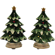 Vintage Lefton Ceramic Christmas tree Shakers 1970s Very Good Condition