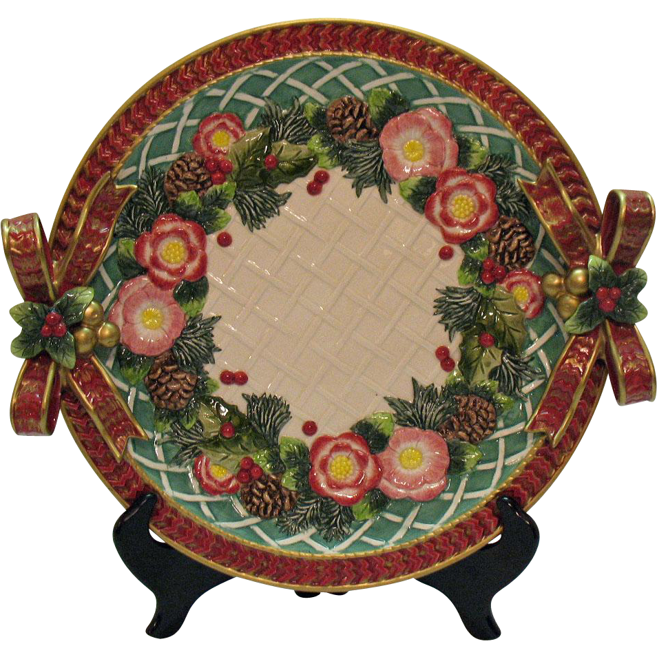 Vintage Fitz & Floyd Christmas Platter/Charger 1960-70s Very Good Condition