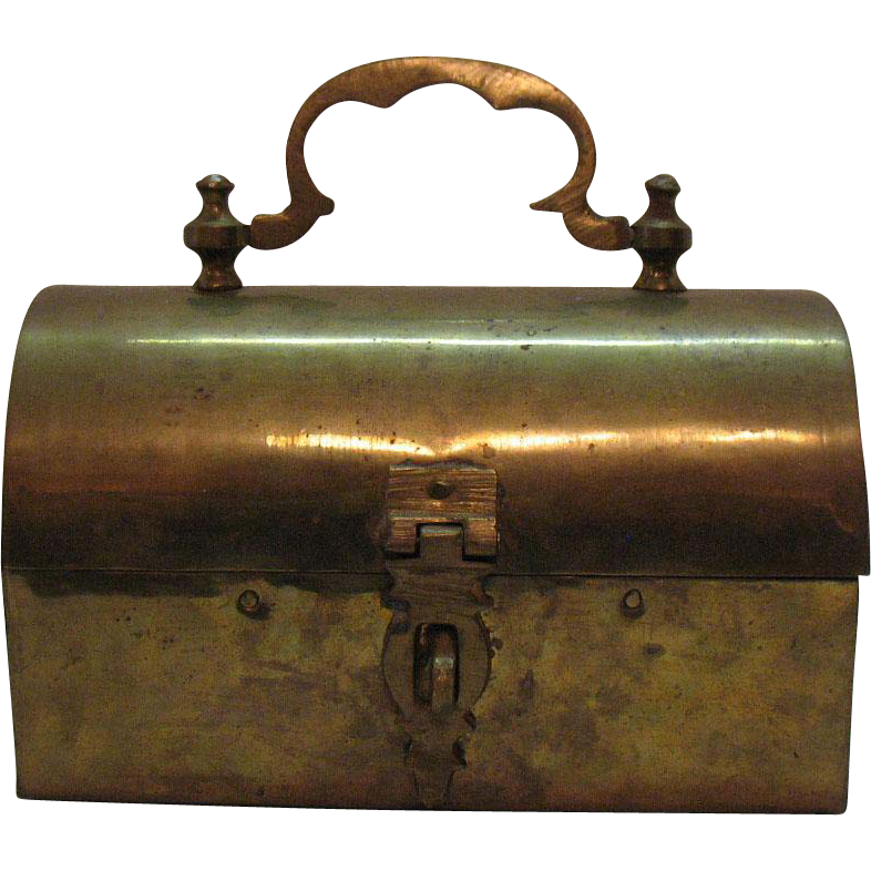 Vintage Brass Jewelry Casket/Pin Box Made in India 1950s Good Condition