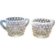 Vintage Fenton Light Blue Opalescent Hobnail Individual Sugar & Creamer 1942-54 Very Good Condition
