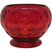 Vintage Imperial Depression glass Ruby Candy Bowl with Thumbprint Motif 1939 Very Good Condition