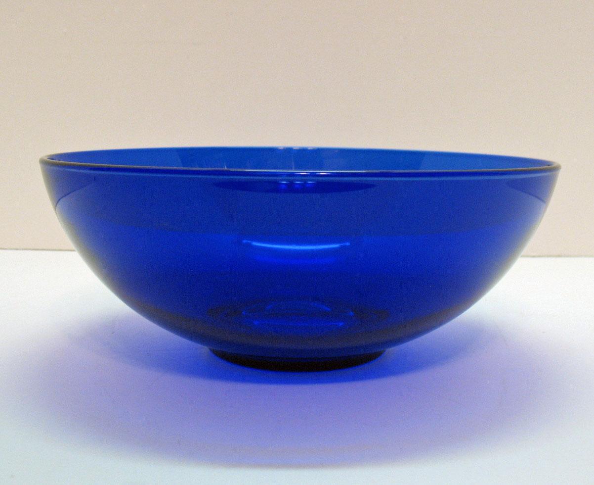 Vintage Cobalt Blue Fruit Console Bowl With Metal Holder