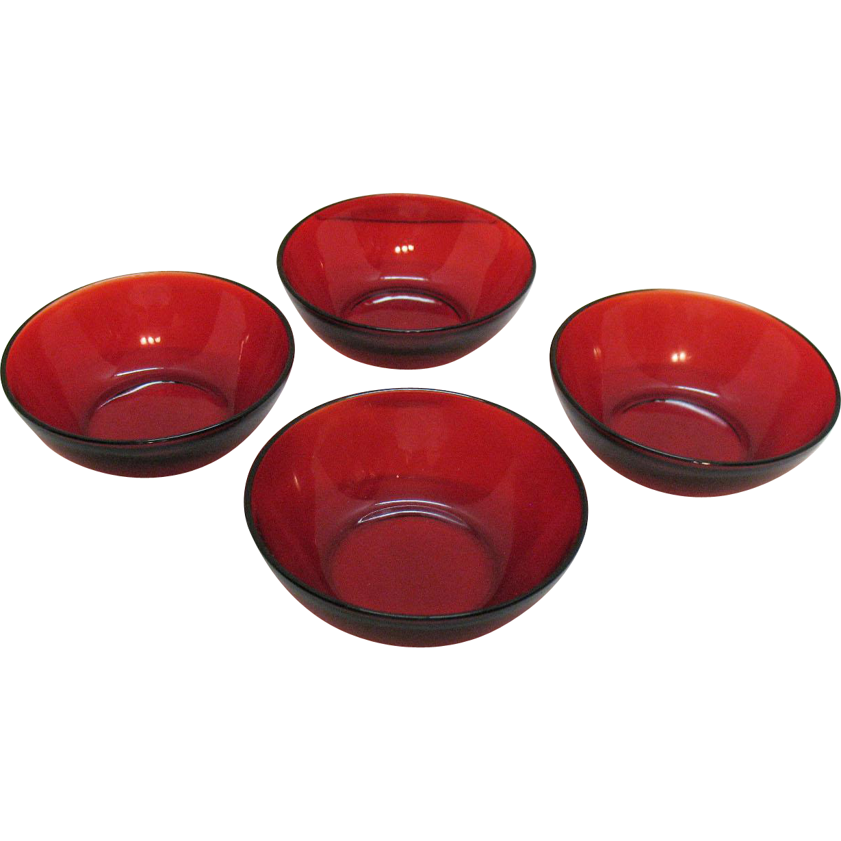 Vintage (4) Anchor Hocking Royal Ruby 4000 Line Berry Bowls 1956-58 Very Good Condition