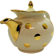 Vintage Hall 6 Cup Teapot Wind Shield Type Ivory with Gold Polka Dots