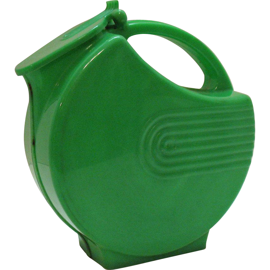 Vintage Green Hard Plastic Pitcher with Art Deco like Design 1950s Good Usable Condition
