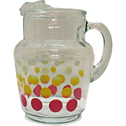 Vintage Anchor Hocking Polka Dot Pitcher 1950-60s Good Condition
