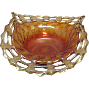Vintage Fenton Bon Bon Dish Basket weave Pattern Open Lacey Edge Marigold Colored 1921-37 Very Good Condition