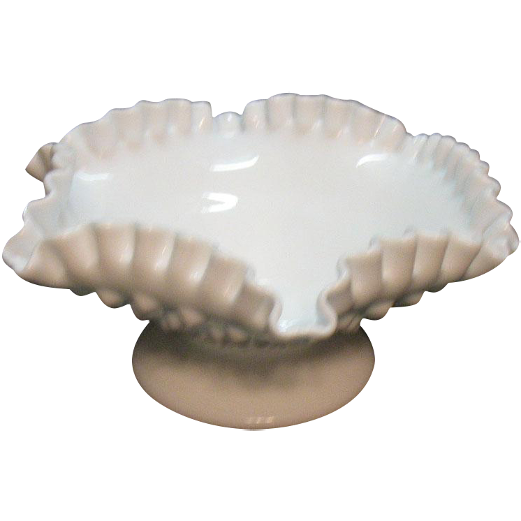 Vintage Fenton 8 Inch Comport/Candle Bowl Hobnail Milk Glass Pattern 1958-79 Very Good Condition