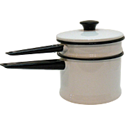 Vintage White Enamel/Granite Ware Double Boiler 1950s Black Paint Very Good Condition