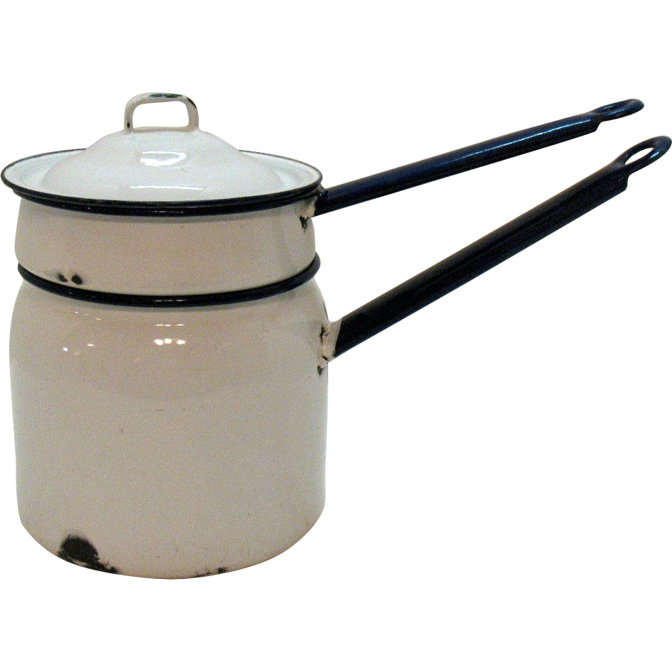 Vintage White Enamel/Granite Ware Double Boiler Cobalt Blue Handles & Rims 1930-40 Used Condition