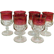 Six Vintage Ruby Single Flashed Water Goblets Tiffin Kings Crown Pattern 1950-62 Very Good Condition