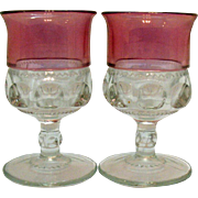 Two Cranberry Single Flashed Water Goblets by Tiffin Kings Crown Pattern 1950-65 Very Good Condition