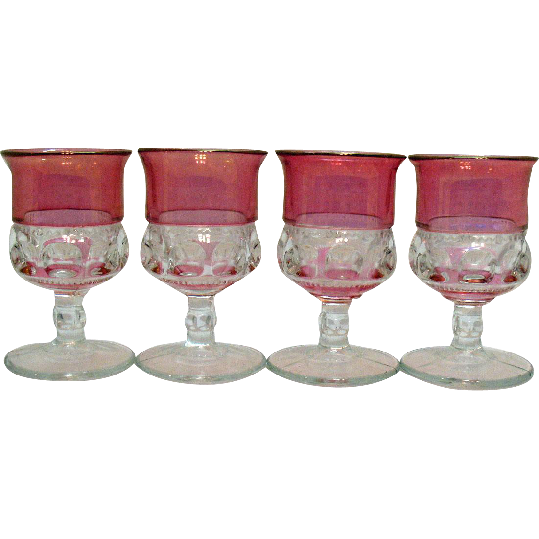 Four Cranberry Double Flashed Water Goblets by Tiffin in Kings Crown Pattern 1943-65 Very Good Condition