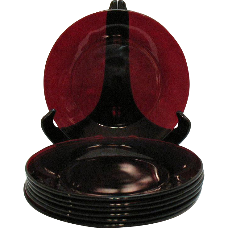 Vintage 7 Anchor Hocking Royal Ruby Dinner Plates 1938-60s Good Condition