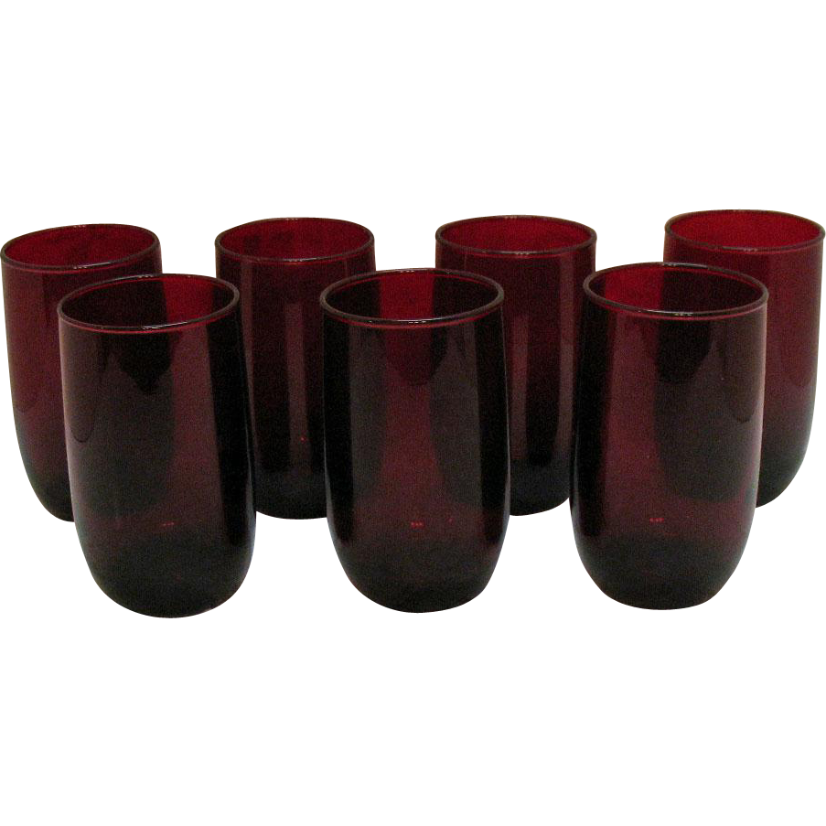 Vintage 7 Anchor Hocking Royal Ruby Tumblers 1938-60s Very Good Condition
