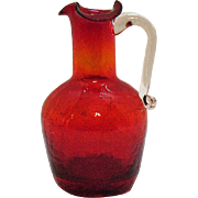 Vintage Pilgrim Ruby Crackle Pitcher 1950-60s Very Good Condition