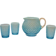 Vintage Fenton Opalescent Blue Hobnail Squat Jug & 3 Tumblers 1940-54 still in good condition