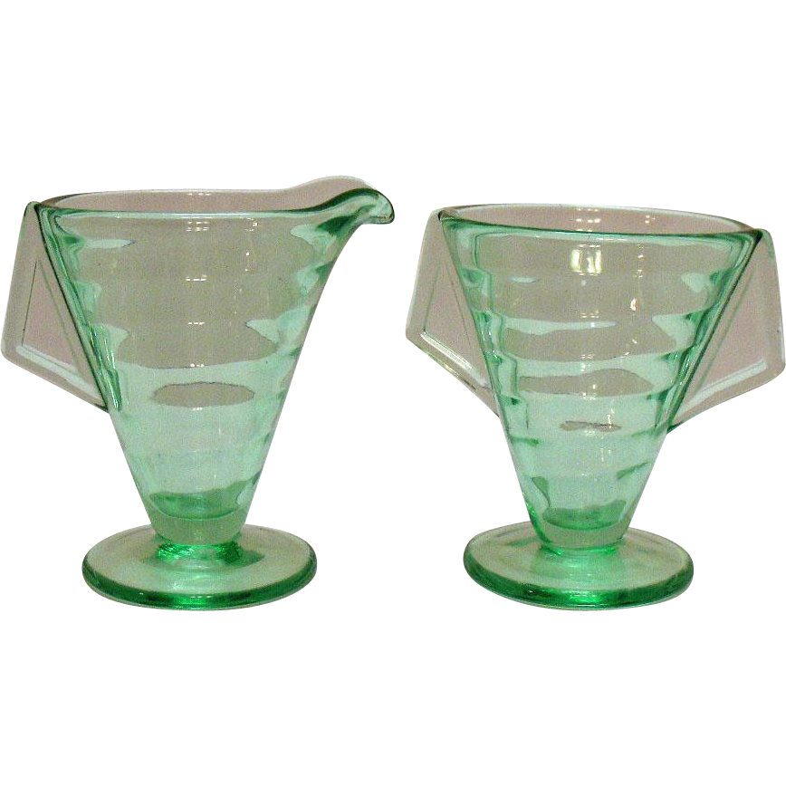 Vintage Transparent Green Depression glass Sugar & Creamer Set Tab Handles 1930s Very Good Condition