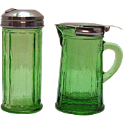Vintage Transparent Green Depression glass Sugar & Syrup Dispensers 1930s Chrome Tops Very Good Condition