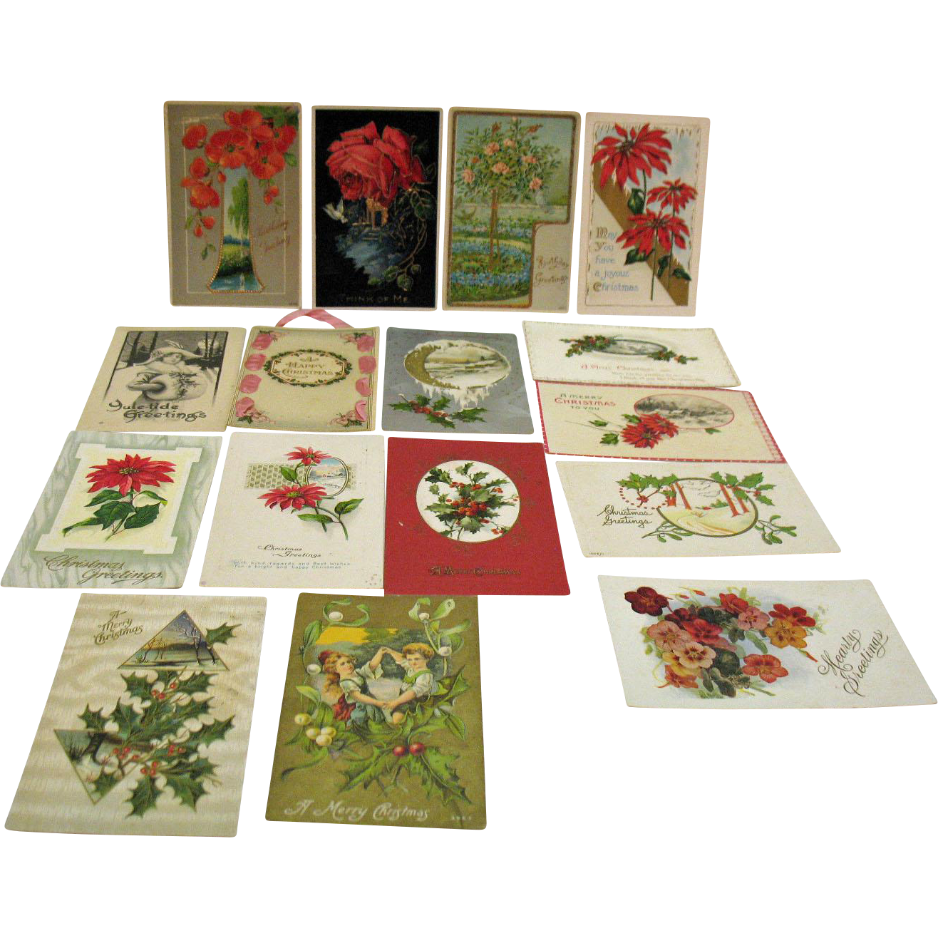 Sixteen Vintage Post Cards about Christmas Birthdays Friendship Post Marked 1914-15 Good Condition