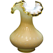 Vintage Fenton overlay bubble optic vase with gold crest edge from 1961-64 still in very good condition