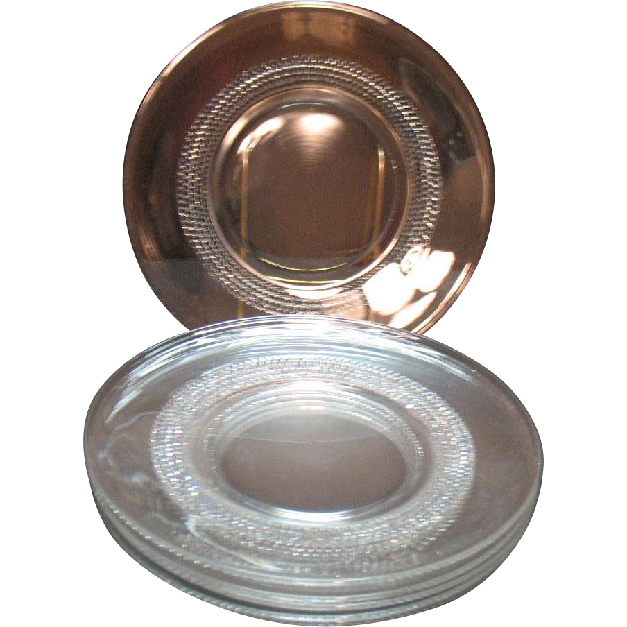 Vintage Duncan & Miller 6 luncheon plates in the tear drop pattern from 1936-55 that are still in good to very good conditio