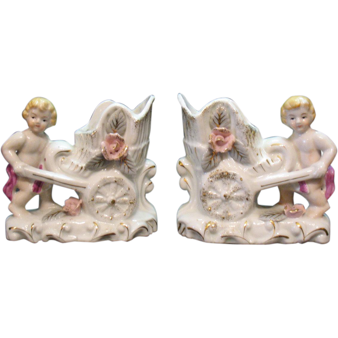 Pair of Vintage Porcelain Cherub Planters 1950-60s Very Good Condition