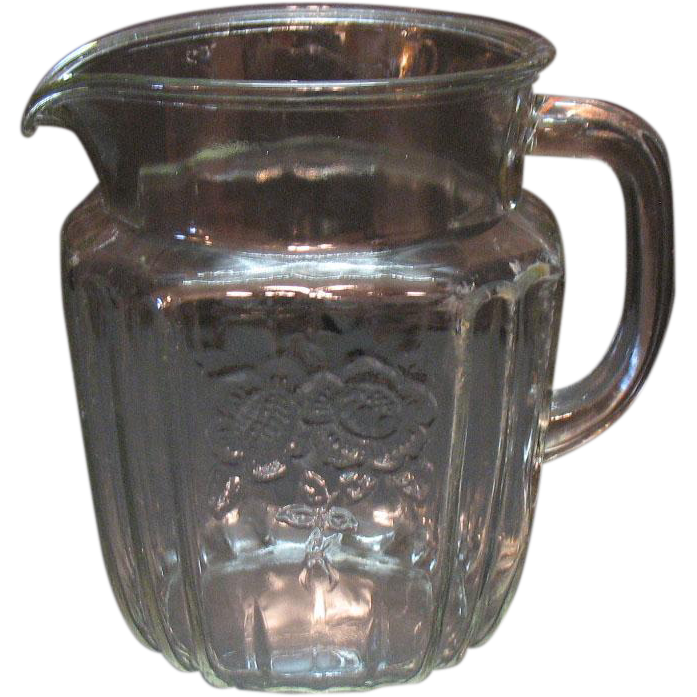 Vintage Hocking Depression glass Crystal Pitcher Mayfair Open Rose Pattern 1931-37 Very Good Condition