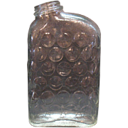 Vintage 1930-50 Crystal Water Bottle Raised Circles Motif No Lid Good Condition