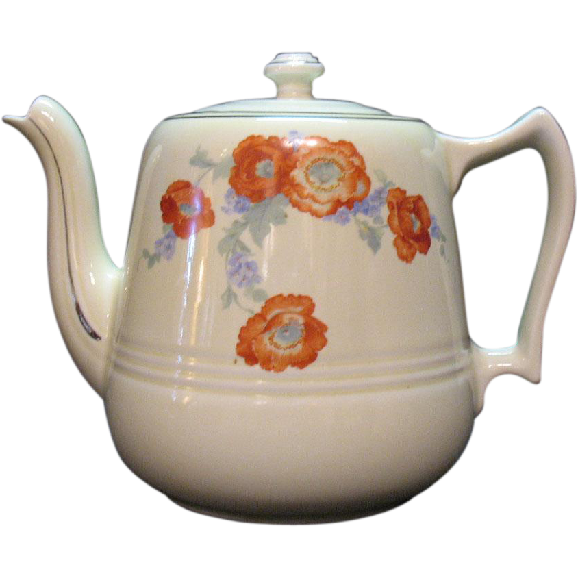 Vintage Hall Great American Coffee Pot Orange Poppy Motif Very Good Condition
