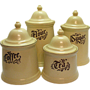 Vintage Pfaltzgraff 8 Piece Canister Set 1970s Village Pattern Good Condition