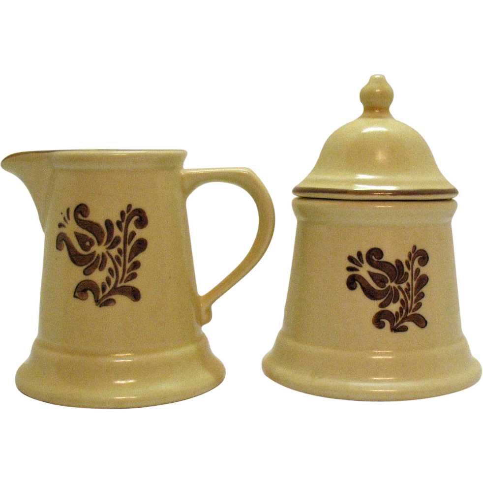 Vintage Pfaltzgraff Sugar & Creamer Set 1970s Village Pattern Very Good Condition