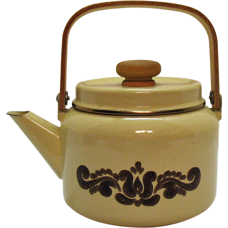 Vintage Pfaltzgraff Enamelware Teapot 1970s Village Pattern Good Condition