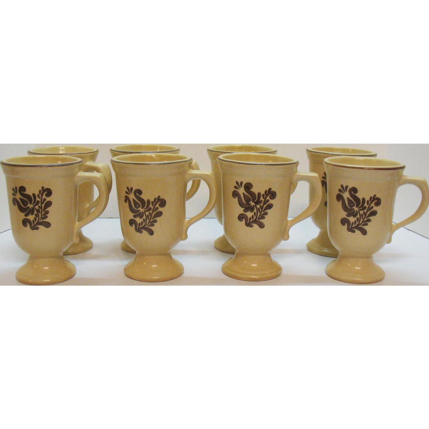 Vintage 8 Pfaltzgraff Grand Mugs 1970s Village Pattern