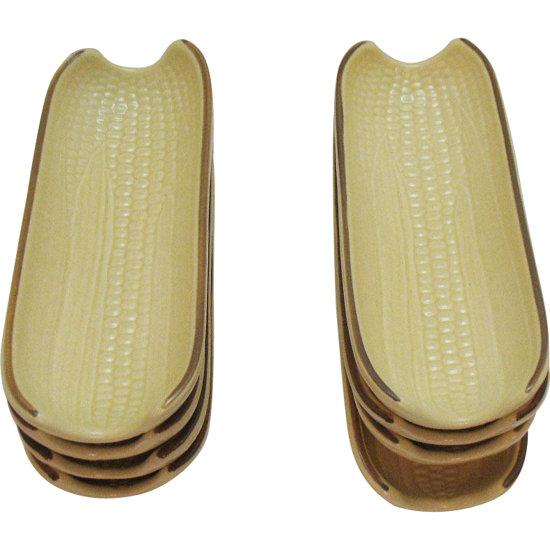 Vintage Pfaltzgraff (8) Boiled Corn Buttering Holder 1970s Village Pattern Very Good Condition