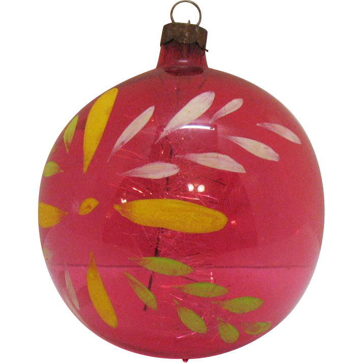 Vintage Large Unsilvered Glass Christmas tree Ornament with Tinsel 1942-45 Very Good Condition