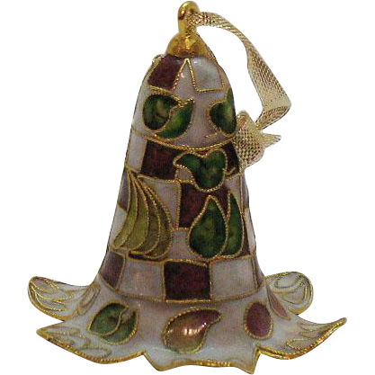 Vintage Champlevé Cloisonné Christmas Ornament Metal Bell 1970s Very Good Condition