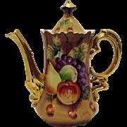 Vintage Lefton Coffee Pot in Brown Heritage Fruit Motif 1949-64 Excellent Condition