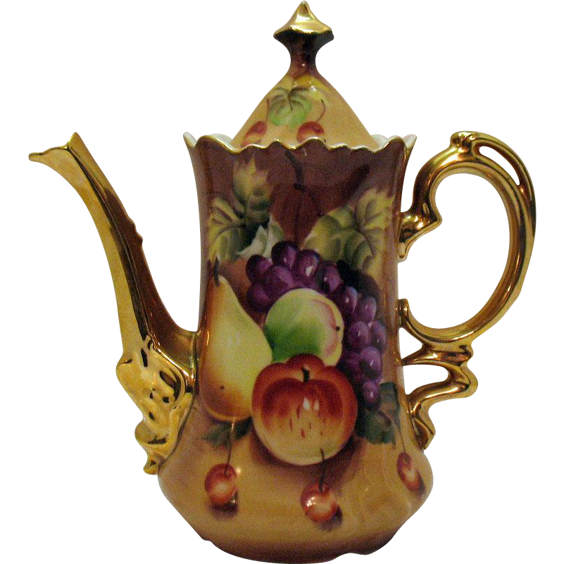 Vintage Lefton Coffee Pot in Brown Heritage Fruit Motif 1949-64 Excellent Condition