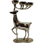 Vintage Silver Plated Over Brass India Reindeer Candle Holder 1950-60s Modernistic Look Very Good Condition