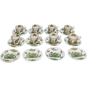Vintage 20 Pieces Spode Copeland Demitasse Cups & Saucers Green Basket Pattern Very Good Condition